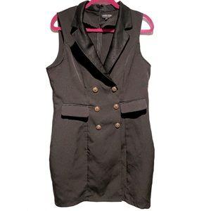 Fashion Nova Blazer Dress Sleeveless Gold Buttons